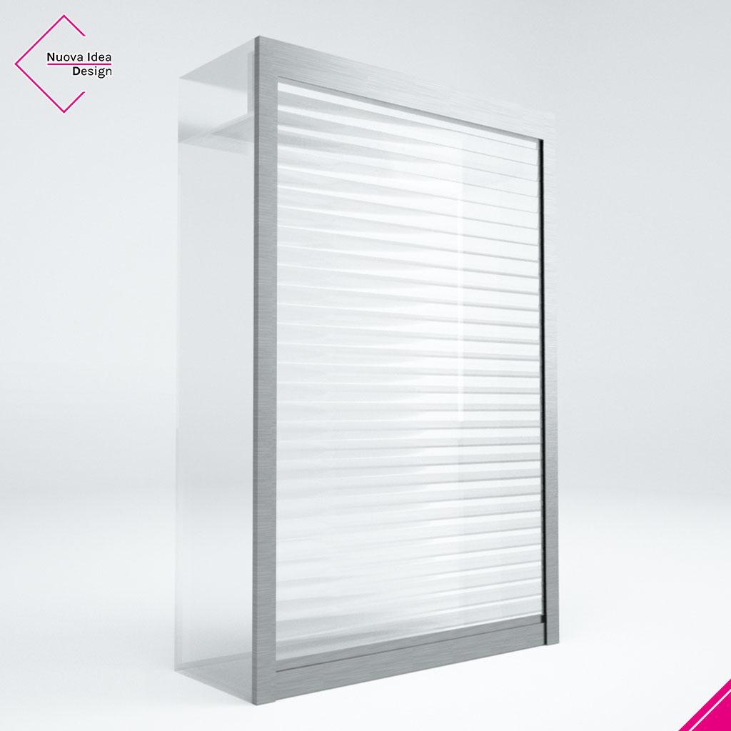 Divisorio di protezione a serrandina, trasparente, modello Beta Screen