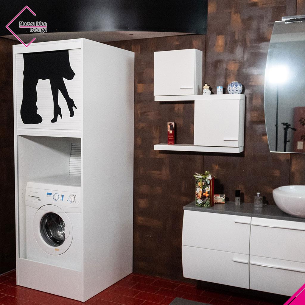 Mobile a serrandina porta lavatrice, modello Alpha Wash
