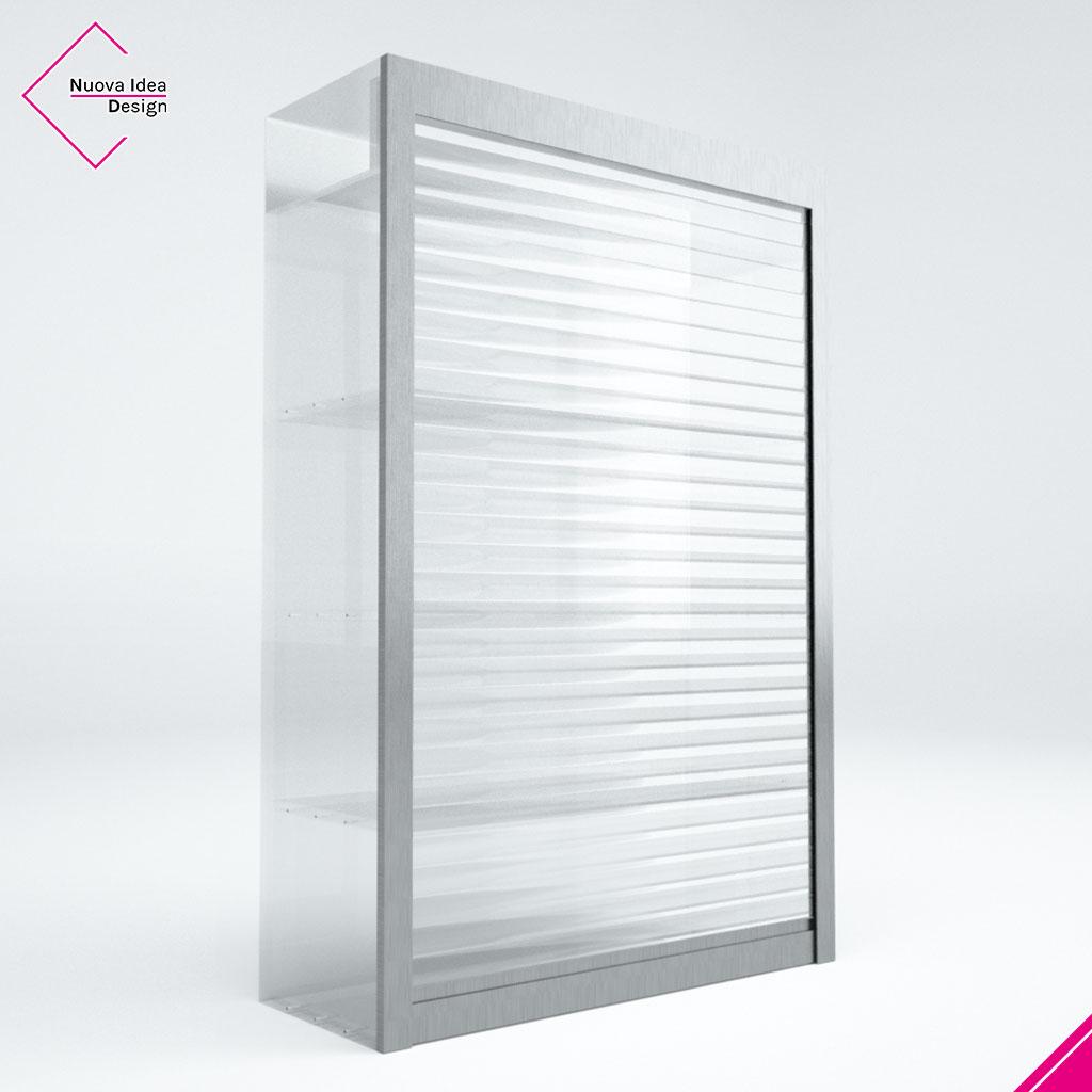 Mobile a serrandina vetrina, trasparente, modello Beta Light